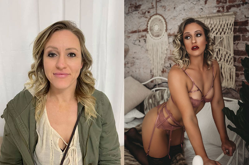 boudoir photography, before and after photo, woman in casual clothing on left, same woman in luxurious lingerie on right